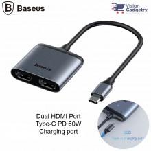 Baseus Enjoy USB Type C to Dual HDMI Converter Hub Adapter 4K PD Charging 60w