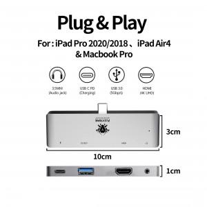 Plextone GS1 4in1 Mark III Type C Multi Adapter HUB 4K HDMI 3.5mm PD65W Macbook iPad