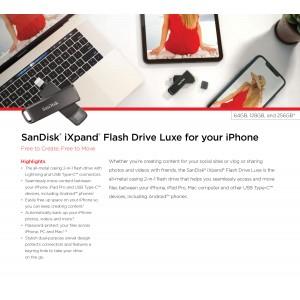 Sandisk iXpand Luxe 2in1 Type-C Lightning 70N Flash Drive iPhone iPad 64GB 128GB 256GB
