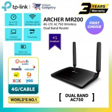 TP-Link Archer MR200 Sim Card Wireless Router AC750 Dual Band 4G LTE OneMesh Maxis/Digi/Celcom/Umobile