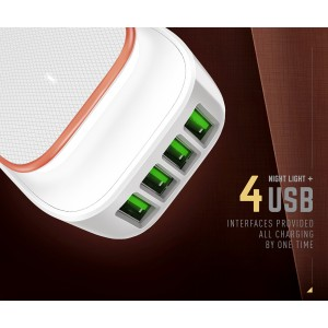 LDNIO A4405 2in1 4 USB Port Charger UK Plug LED Touch Lamp w Cable